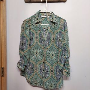 New York & Company Paisley Button Down Shirt Green